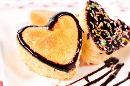 Selective focus on the left heart cake Stock Photo - 17294948