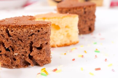 Selective focus on the left chocolate cake Stock Photo - 17294944