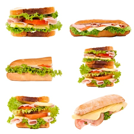 ham sandwich: Tasty sandwiches isolated on white