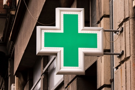 Pharmacy sign on the street Stock Photo - 17339917