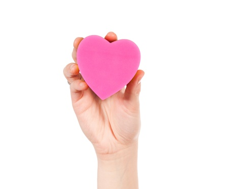 Hand holding heart paper isolated on white Stock Photo - 17390789