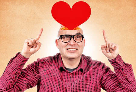 Man with red heart in his head Stock Photo - 17456948