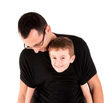 keeps: Tired dad keeps son isolated on white Stock Photo