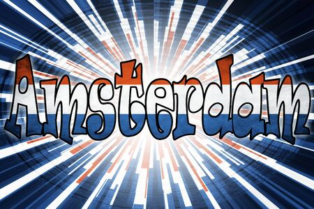 Amsterdam sign on the abstract background Stock Photo - 17609417
