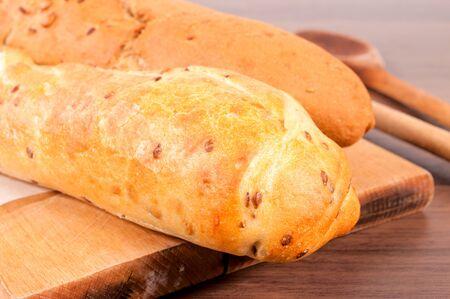 frans brood: Selectieve focus op de voorkant stokbrood