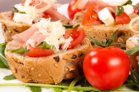 food buffet: Selective focus on the bruschetta sandwich