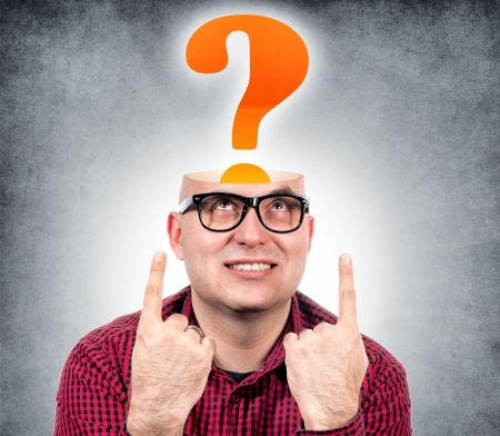 Funny man with the opened head and question mark Stock Photo - 17798421