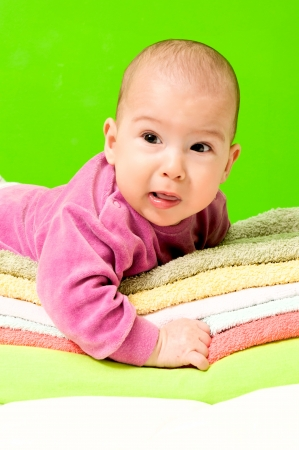 fussy: Fussy baby on the towels