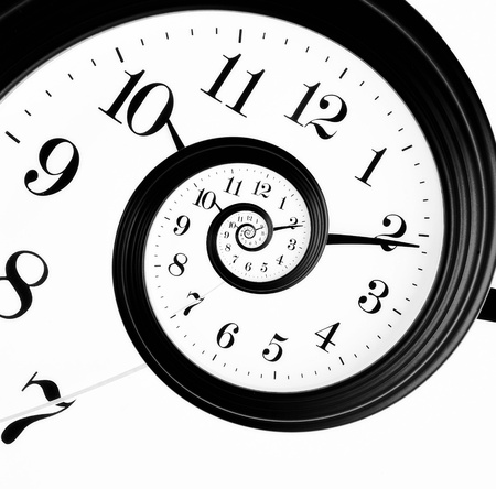 ticking: Black and white clock in droste effect Stock Photo