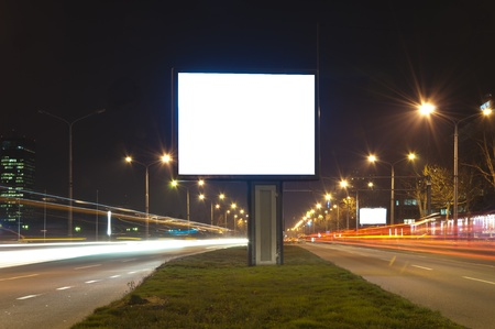 Selective focus on the blank bilboard in long exposure photo