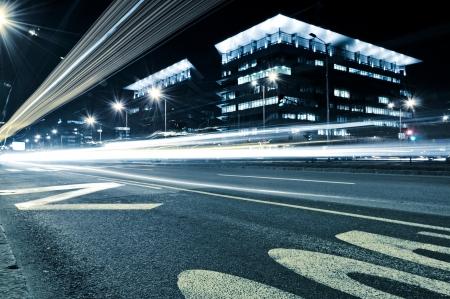 ramat aviv: Urban scene at night in the long exposure