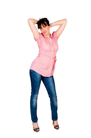 Happy female isolated on white background Stock Photo - 18294346