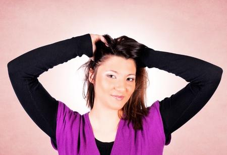 fulfilment: Female portrait on pink background