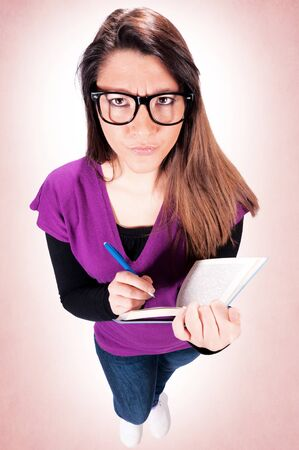 Angry female student from above Stock Photo - 18338745