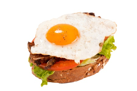 Egg sandwich ioalted on white background photo