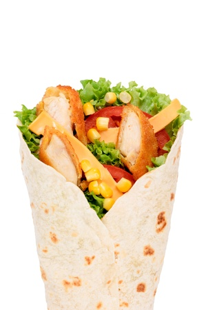 wrap: Selective focus in the middle of chicken wrap Stock Photo