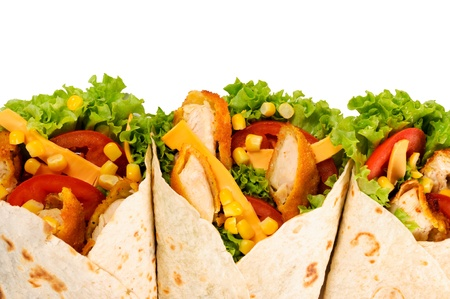 Three chicken wraps isolated on white background photo