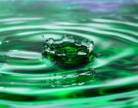 Green water drop falling and make splash Stock Photo - 18733064