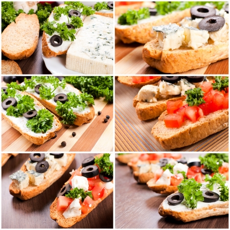 Vegetarian sandwiches with cheese and vegetables photo