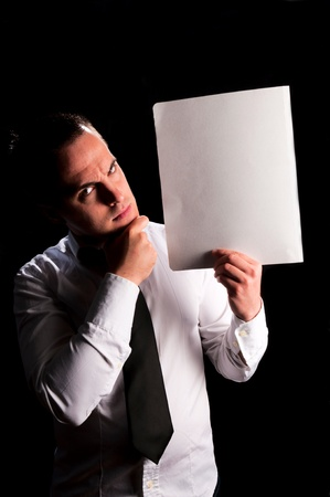 Angry businessman with white blank space   Stock Photo - 18918071