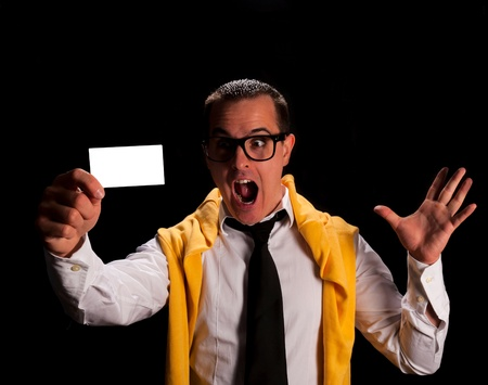 Happy man face with blank calling card Stock Photo - 18918069