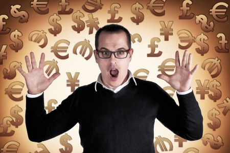 Shocked man with currency symbols background photo