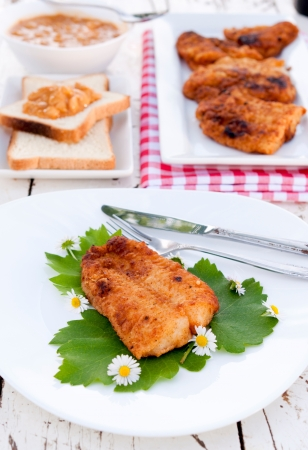 Selective focus on the piecr of fried catfish Stock Photo - 19577123