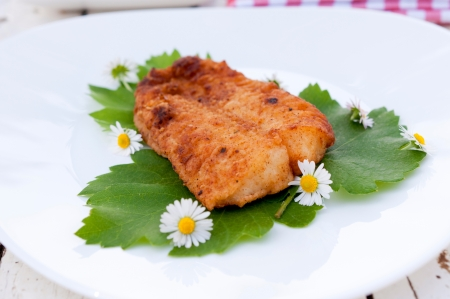 Fried catfish steak on the plate Stock Photo - 19577202