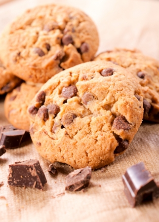 Sweet cookies with chocolate crumbs. Selective focus on the front cookie Stock Photo