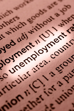 Unemployment concept in word tag . Selective focus in the middle of word photo