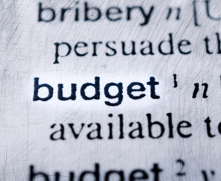 Budget concept in word tag . Selective focus in the middle of word photo