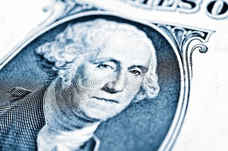 Close up to George Washington portrait on one dollar bill photo