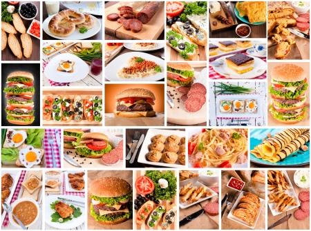 Several varieties of international food photo