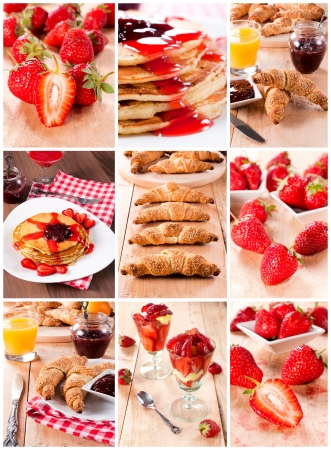 Different types of food combined with strawberries photo