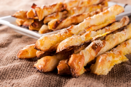 flaky: Pastry snack with cheese and sesame