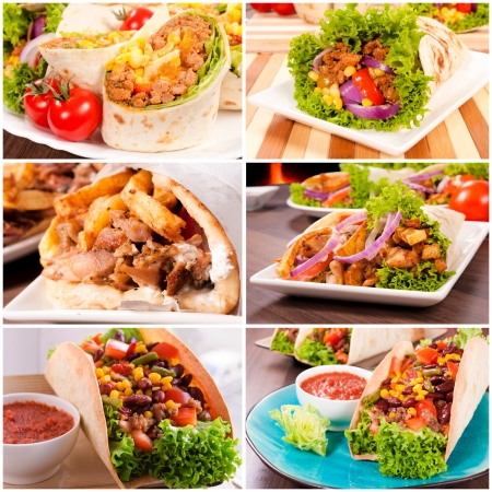 Variants of using traditional tortillas in meals photo