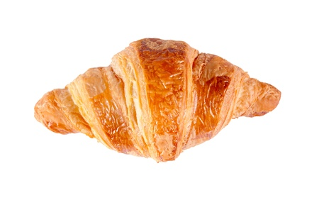 Single croissant from above isolated on white background