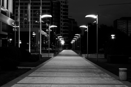 Street at night in black and white technique photo