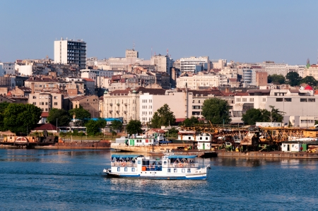 bout: Tourist bout on Sava river in Belgrade Stock Photo
