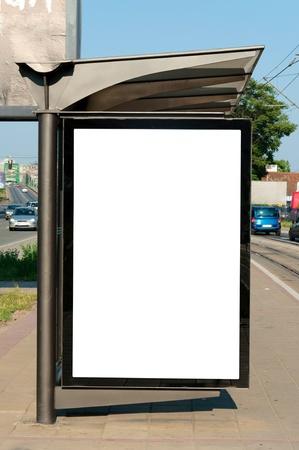 buss: Blank white billboard on the buss station