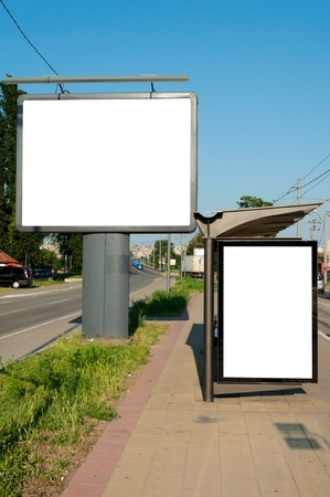 buss: Street and the buss station blank billboards