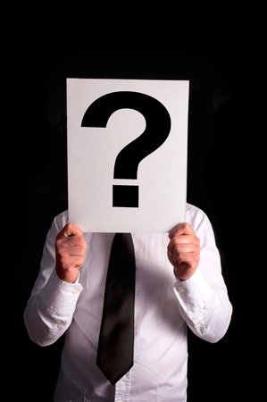 Businessman with a question mark over his head Stock Photo - 20994603