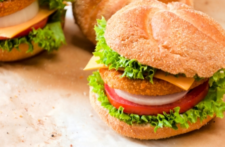 Close up to fishburger and fresh vegetables