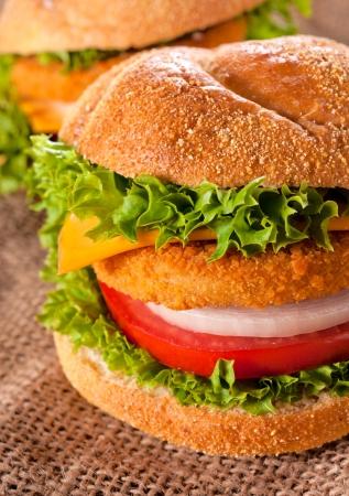 Fresh and fried fishburger sandwich  photo