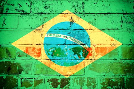 An old grunge flag of Brazil state on bricks  Stock Photo - 21163549