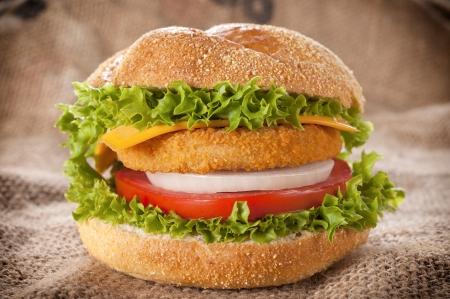 Fresh fishburger with tomato and onion  photo