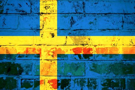 Old Swedish flag on the rusty and metal wall Stock Photo - 21163607
