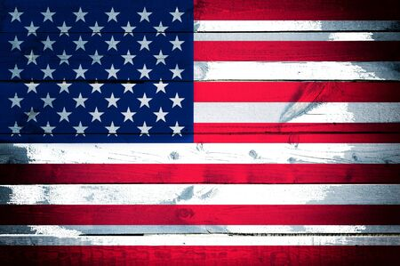 Abstract American flag on the wooden background  photo