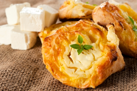 Melted feta cheese on the traditional Serbian pastry