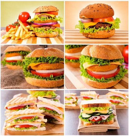 Group of unhealthy food on the table Stock Photo